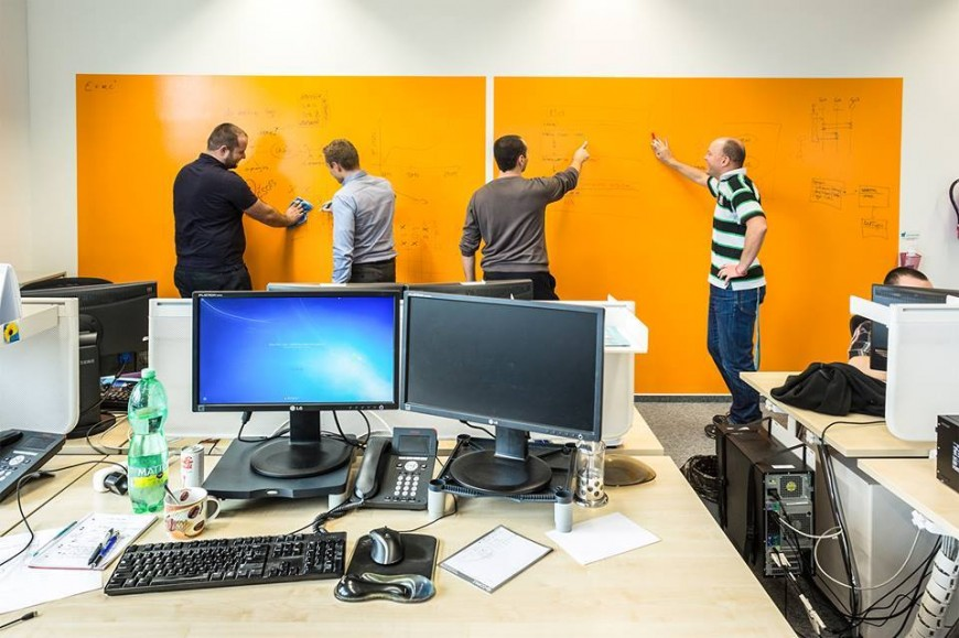 Orange whiteboard wall-Customer | Smarter Surfaces
