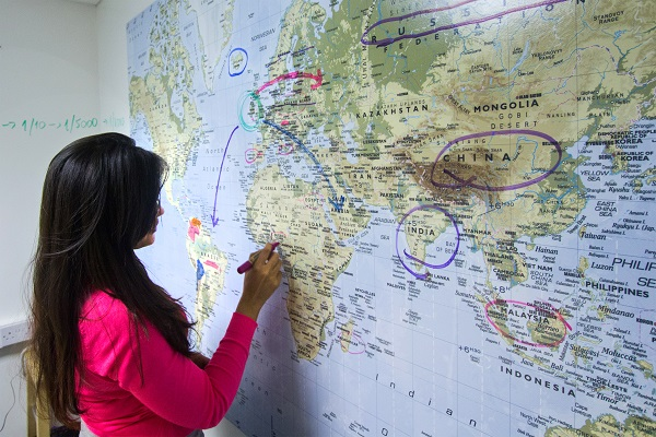 whiteboard, clear dry erase paint on a map | Smarter Surfaces
