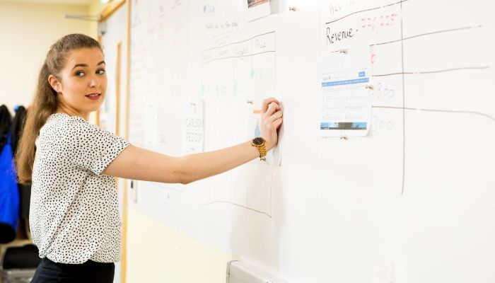 Smart-Magnetic-Whiteboard-wall-being-used-for-brainstorming-Office-Wall-Ideas