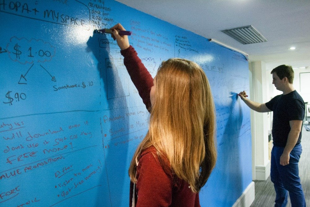 Whiteboard paint, clear, blue wall, Soundwave Office, Video Day, Dublin (15)