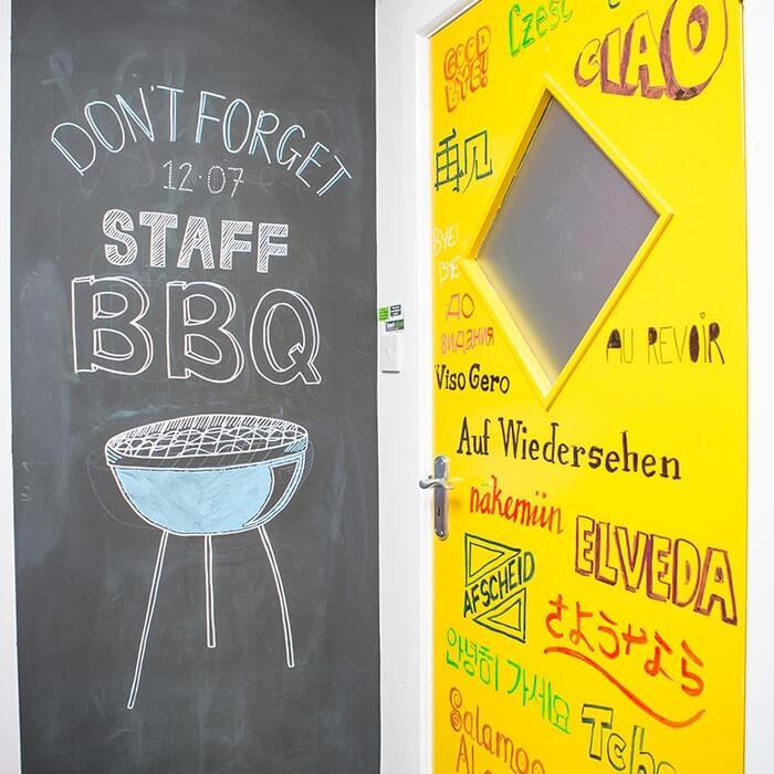 product c h chalkboard wall in office using smart chalkboard paint