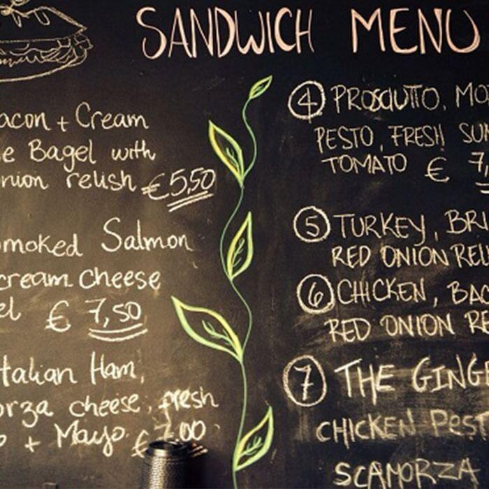 product r e restaurant menu displayed on smart chalkboard paint