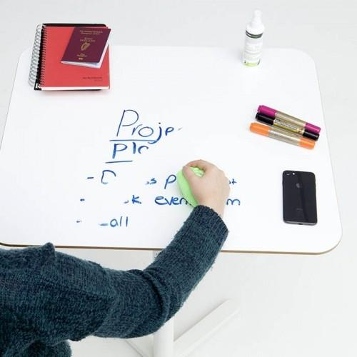 Smart Self Adhesive Whiteboard Film creates writable desk which is being erased using cloth