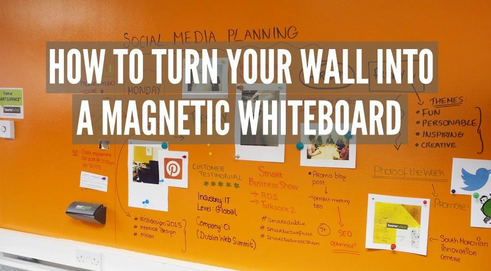 Orange wall coated in Smart Magnetic Paint and Smart Whiteboard Paint Clear