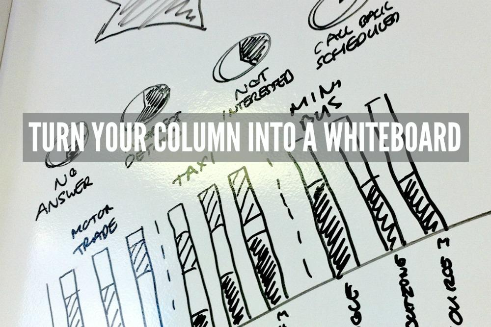 Whiteboard paint office connected media column