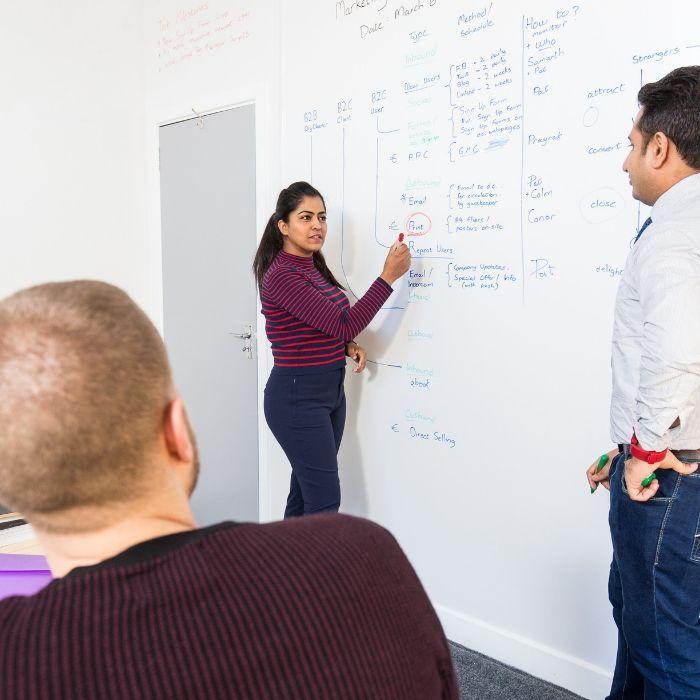 sales-team-having-a-meeting-at-their-writable-walls