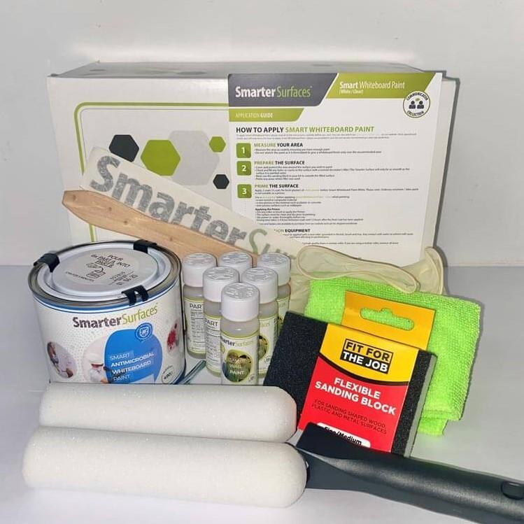 Smart Antimicrobial Whiteboard Paint full kit contents and application guide