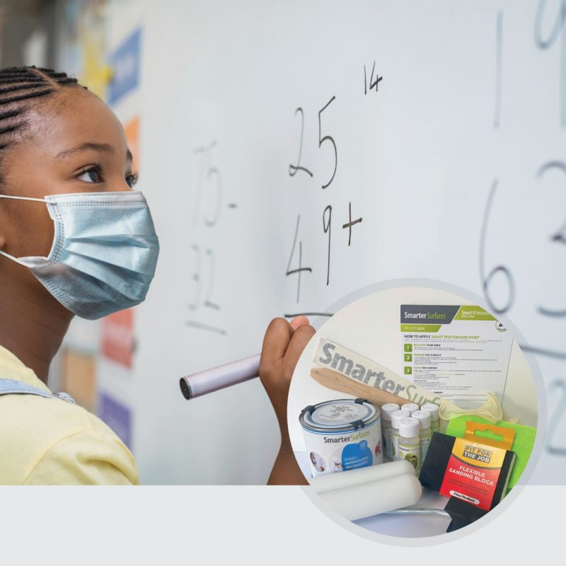 Smart-Antimicrobial-Whiteboard-Paint-Girl-in-Mask-With-Kit-Contents
