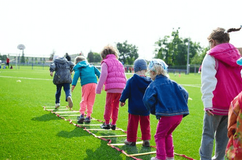 group of children outdoors being active
